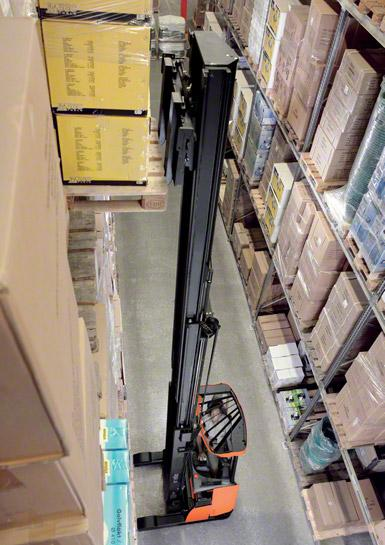 I carrelli retrattili sono usati per lavorare in magazzini con corsie strette