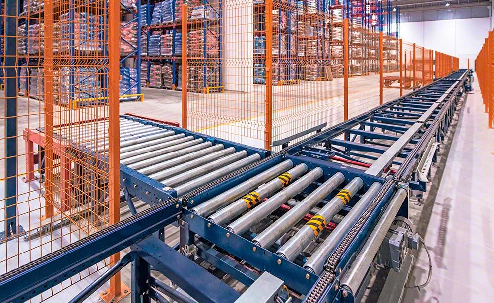 Elevato rendimento e movimentazione automatizzata della merce con trasportatori per pallet