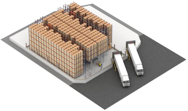 Sistema Pallet Shuttle automatico con trasloelevatore nel magazzino di Pastelaria e Confeitaria Rolo