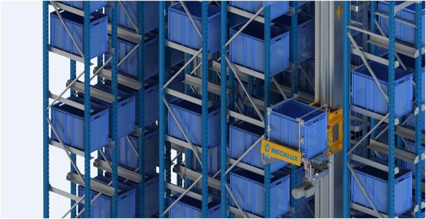 Un magazzino automatico miniload nel centro logistico di Clics in Belgio